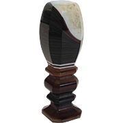 Banded Agate Seal Engraved P Antique