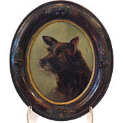 Victorian Dog Oil Painting Oval Framed