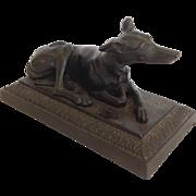 Greyhound Reclining Cast Iron Dog Figure Late 19th Century