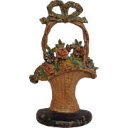 Flower Basket Iron Door Stop With Bow Original Paint