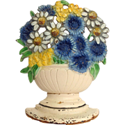Flower Bouquet Cast Iron Door Stop Original Paint
