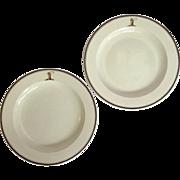 "Pair of Antique Wedgwood Armorial Creamware Plates 8"" Circa 1820"