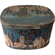"American Blue Wallpaper Village Scene 19"" Hatbox Antique Circa 1825"