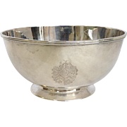 John King English Sterling Bowl with Crest London 1773