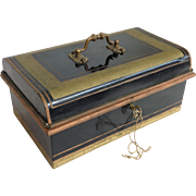 Antique Tole Document Box with Lock