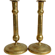 Pair of French Brass Candlesticks Early 19th Century