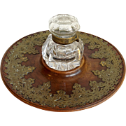 Brass Mounted Walnut Desk Tray with Cut Glass Inkwell 19th c.