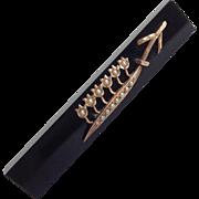 Onyx And Pearl Bar Pin Victorian 14 Karat