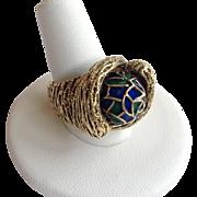 Enameled Rolling Bead Ring 14 Karat Size 8