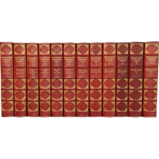 Red Leather Bindings The Complete Works of Lord Macaulay in 12 Volumes Circa 1898