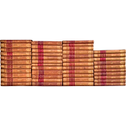 Leather Bound Brown and Red Books Set of 45 French Circa 19th Century