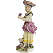 Meissen Girl With Lamb Figure 18th Century