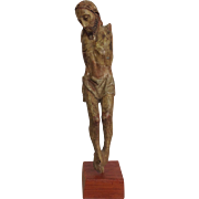 Early Carved Wooden Armless Corpus Figure
