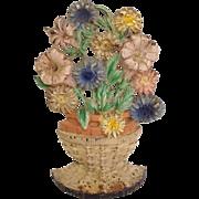 Cast Iron Wicker Basket of Flowers Door Stop Original Paint