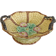 Majolica Basket Snake Handles and Flowers 19th Century