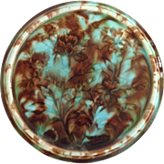 Majolica Flowers Trivet Antique
