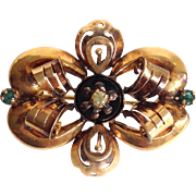 Mourning Pin French Diamond and Emerald