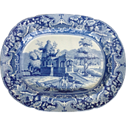 "Blue and White English Transfer 15"" Platter Circa 1825"