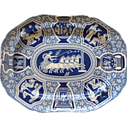 "Greek Pattern Blue Spode 20"" Platter Circa. 1810"
