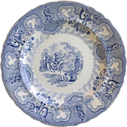 Texas Campaign Plate Blue and White Transfer 1840's