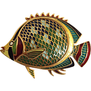 Gold Fish Pin Plique A Jour 18 Karat