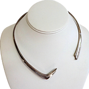 Sigi Pineda Modernist Sterling Torque Necklace Taxco