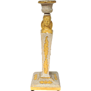 Neo-Classical Yellow Majolica Candlestick Germany Late 19th