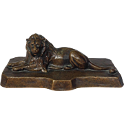 Lion Bronze Reclining Figure Antique