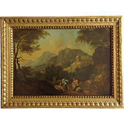 Landscape Oil Painting Figures in Hills 19th Century
