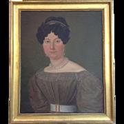 "Antique Portrait of a Lady in a Tiara 27"" Circa 1825"