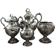 American Coin Silver Grapes Tea Set by Platt & Brother NYC  No Monograms!