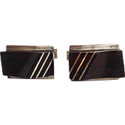 Moderne Style Sterling Wood Cufflinks Taxco Mexico