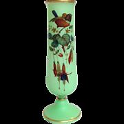 "Opaline Bird And Flower Painted 14"" Vase"