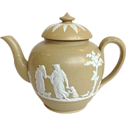 Antique Jasperware Teapot Classical Figures Circa 1880