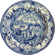 Blue and White Chinoiserie Pearlware Plate Father and Son Early 1800's