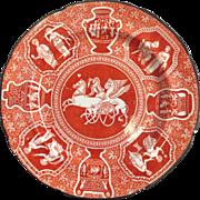 "Greek Pattern Red 6.5"" Plate Circa 1825"