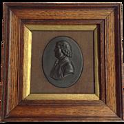 Portrait Plaque Black Basalt Framed 19th Century