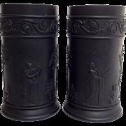 """Pair of Wedgwood Black Basalt Spill Vases 4"""""""