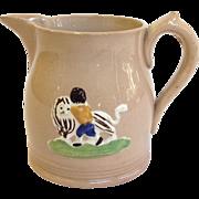Antique Drabware Creamer Child and Lion Circa 1850