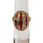 Ruby Diamond Dome Ring Italy 18K Gold