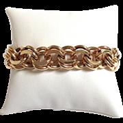 "Large Double Link Charm Bracelet 14 Karat 7 5/8"""