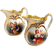Pair of Porcelain Pitchers Young Girls Hand Painted 19th c.