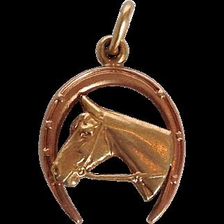 Horse and Horse Shoe Charm 14 Karat Charm