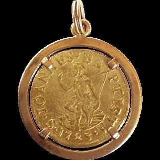 Giovanni Gaston Gold Florin Coin Charm or Pendant 1725