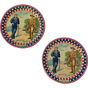 American Pride Tin Litho Soldier Sailor Tip Trays