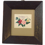Early Pencil and Watercolor Bird and Flowers Framed