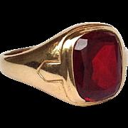 Red Signet Ring 10 Karat Gold Size 9.5