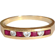 Diamond Ruby Band 14 Karat Gold Ring