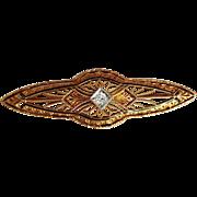 Filigree Diamond Pin 14 Karat Gold