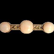 Angel Skin Coral Bar Pin Antique 14 Karat Gold
